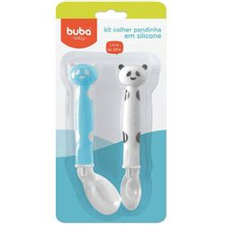 Kit-2-Colheres-de-Panda-em-Silicone-Azul---Buba