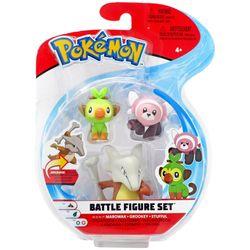 Pokémon Figuras Marowak, Grookey e Stufful - Set de Batalha- Sunny