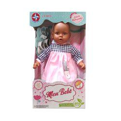 Boneca-Meu-Bebe-Negro---Vestido-Xadrez-e-Rosa---Estrela