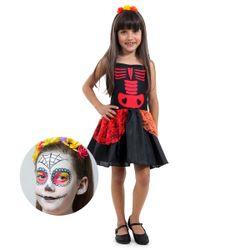 Fantasia-Infantil-M---Caveira-Mexicana-com-Maquiagem---Sulamericana